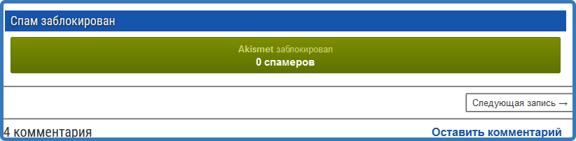 Виджет Akismet Anti-Spam